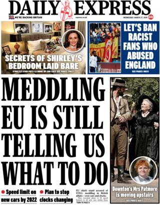 Daily Express front page, 27/3/19