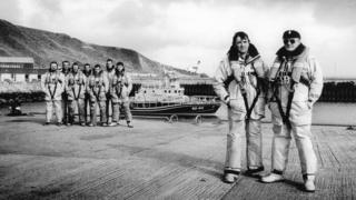 """Bill """"Wing"""" Munro, front left, with Thurso lifeboat crew members"""