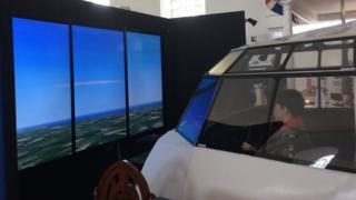 Inside a replica cockpit of a Sunderland flying boat