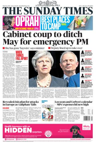 Newspaper headlines: 'Cabinet coup' and speedboat killer 'to return to UK'