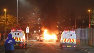 Police Land Rovers at the scene of the rioting in Derry