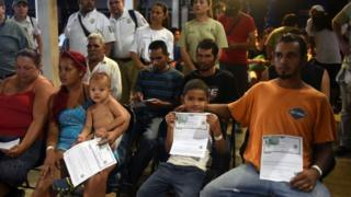 Grupo de inmigrantes hondureños
