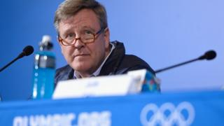 Ceo Scott Blackmun at a press conference at 2014 Sochi Olympic games