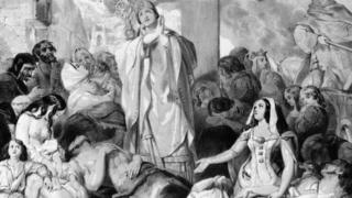 People praying for relief from the bubonic plague, circa 1350.