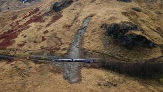Image taken by a drone of train stuck in landslip