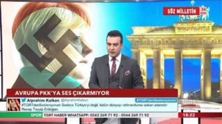 TGRT kanalı, Angela Merkel'i suratında gamalı haçla betimlemişti