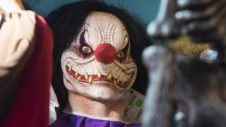 A scary clown mask