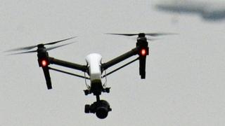 A drone flying in west London