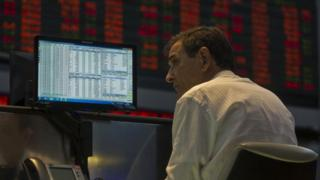 A system operator at Sao Paulo's Stock Exchange