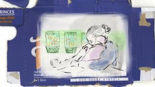 Woman cradling child - drawn on juice box