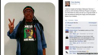 San Carlos Apache Tribe's leader Terry Rambler dressed in blackface as Bob Marley for Halloween