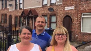 (Left to right) Linda Parkinson, Anthony Kerr and Cheryl Shearer on Walker Road