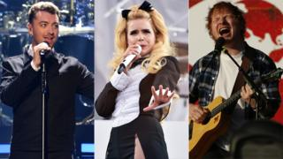 Sam Smith, Paloma Faith and Ed Sheeran