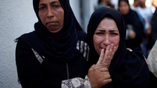 The mother of 8-month-old Palestinian infant Laila al-Ghandour, who died after inhaling tear gas during a protest against US embassy move to Jerusalem at the Israel-Gaza border