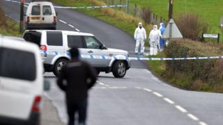 The body was discovered at about 04:00 GMT on Saturday on the Mountjoy Road in the village of Killeen