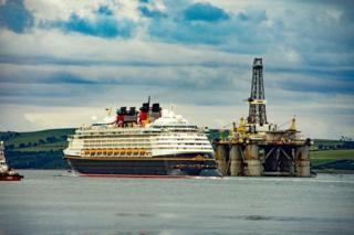 Disney Magic leaving the port of Invergordon tonight.