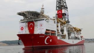 Türkiye'nin Fatih'ten sonra Doğu Akdeniz'e gönderdiği ikinci sondaj gemisi Yavuz.