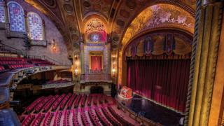 The ornate interior of the Alabama Theatre, in Birmingham, Alabama
