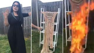 Composite image of Aryana Sayeed burning her dress