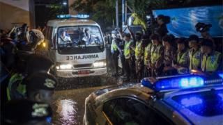 Ambulances carrying bodies of executed prisoners arrive at Wijayapura port (29 July 2016)