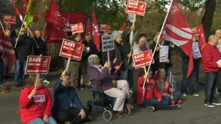 The protest outside Solent University