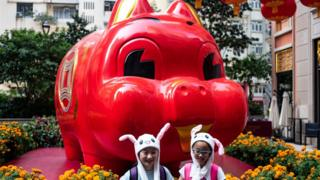 Children in animal hats pose in front of a pig giant pig installation ahead of the Lunar New Year in Hong Kong