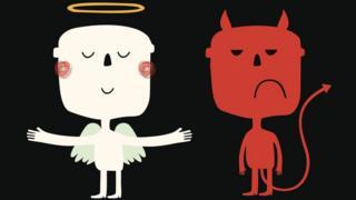 Нарисованные фигурки ангеля и черта.