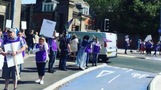 Unison members taking part in the strike on Tuesday