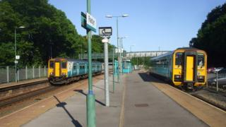 Two Arriva Trains Wales trains at Radyr station