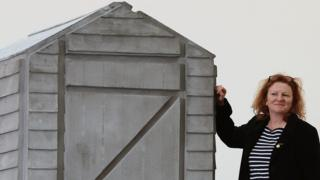 Rachel Whiteread with one of her sculptures