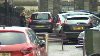 Cars parked in Caernarfon