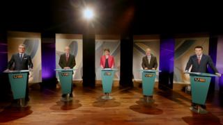 The leaders of the five main parties taking part in the UTV Election Debate