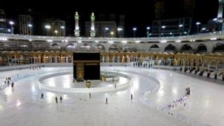The Kaaba in Mecca's Great Mosque stands largely empty