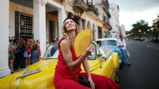 Gisele Bundchen poses before a fashion show in Cuba