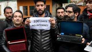 Kashmiri journalists protest against the continuous internet blockade for 100th day out Kashmir press club , Srinagar, Indian Administered Kashmir on 12 November 2019.
