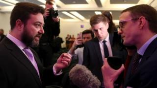 Carl Benjamin speaks to the media