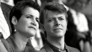 David Bowie and Corinne Schwab at Live Aid, 1985