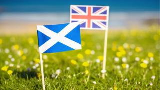 Miniature saltire and union flag