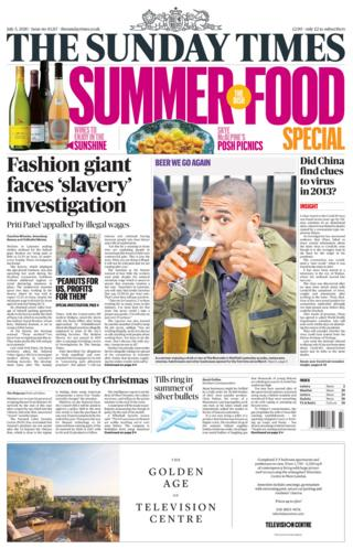The Sunday Times front page 05.07.20