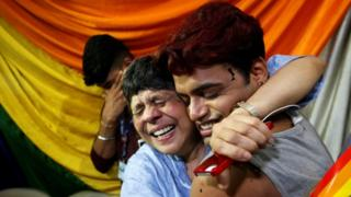 A joyful reaction to the ruling at an NGO in Mumbai