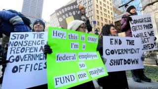 Government workers protest the government shutdown