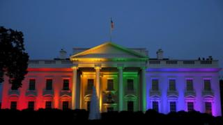 The White House is illuminated in rainbow colours after a historic Supreme Court ruling legalizing gay marriage in Washington, United States June 26, 2015.