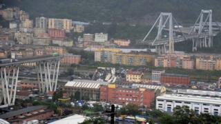 The collapsed section of bridge is seen in the Italian port city of Genoa