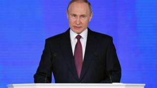 It was Mr Putin's last speech before the election
