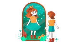 Ilustração: Joana se olhando no espelho