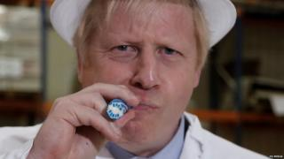 Boris Johnson during a visit to a sweet shop in Blackpool