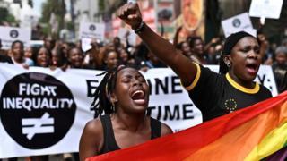 Kenyan women demonstrating in the capital Nairobi