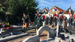 The ceremony in Ronssoy involved a dedication of a plaque to the battalion
