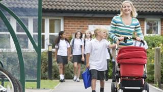 Parent and pupil outside school