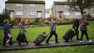 Syrian refugee families arrive at their new homes on the Isle of Bute on December 4, 2015 in Rothesay, Isle of Bute, Scotland.